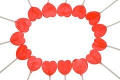 κόκκινο καρδιών lollipop Στοκ φωτογραφία με δικαίωμα ελεύθερης χρήσης