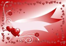 κόκκινο καρτών καρδιών εμβ Στοκ Φωτογραφίες