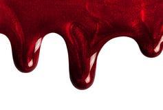 Κόκκινο καρφί στίλβωση μητέρων σταλαγματιάς του μαργαριταριού Μοντέρνα δείγματα των καλλυντικών για τη διαφήμιση Στοκ Εικόνες
