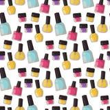 Κόκκινο καρφιών στιλβωτικής ουσίας μπουκαλιών βερνικιών σμάλτων γοητείας άνευ ραφής σχεδίων υποβάθρου βοηθητικό θηλυκό χρωμάτων ο διανυσματική απεικόνιση