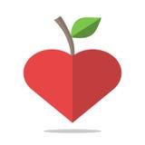 Κόκκινο καρδιά-διαμορφωμένο μήλο ελεύθερη απεικόνιση δικαιώματος