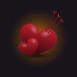 κόκκινο καρδιών διάνυσμα Στοκ εικόνες με δικαίωμα ελεύθερης χρήσης