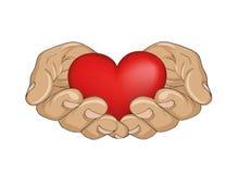 κόκκινο καρδιών χεριών Φοίνικες ανοικτοί Το χέρι δίνει ή λαμβάνει Στοκ Φωτογραφία