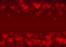 Κόκκινο καρδιών bokeh υπόβαθρο διακοπών υποβάθρου διανυσματικό, αφηρημένο Στοκ Εικόνα