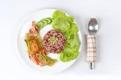 Κόκκινο καφετί ρύζι και τηγανισμένο πράσινο πιπέρι με tofu, becon Στοκ φωτογραφία με δικαίωμα ελεύθερης χρήσης