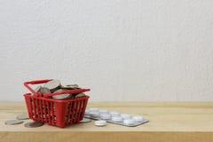 Κόκκινο καλαθιών με την ιατρική και τα νομίσματα Στοκ Φωτογραφία