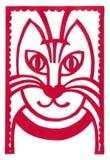Κόκκινο καλλιτεχνικό applique πορτρέτου γατών Στοκ φωτογραφία με δικαίωμα ελεύθερης χρήσης