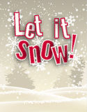 Κόκκινο κείμενο θέματος διακοπών το εποχιακό το άφησε να χιονίσει μπροστά από το χειμερινό τοπίο, απεικόνιση Στοκ φωτογραφία με δικαίωμα ελεύθερης χρήσης