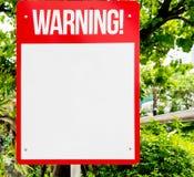 Κόκκινο κενό προειδοποιητικό σημάδι στοκ εικόνα