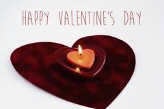 Κόκκινο κερί καρδιών που απομονώνεται στο άσπρο υπόβαθρο, ευτυχείς βαλεντίνοι Στοκ Φωτογραφία