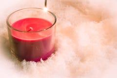 Κόκκινο κερί Χριστουγέννων, διακόσμηση στοιχείων Στοκ Εικόνες