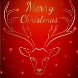 Κόκκινο κεφάλι ελαφιών Χαρούμενα Χριστούγεννας Στοκ Φωτογραφίες