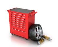Κόκκινο κιβώτιο εργαλείων των μερών αυτοκινήτων Στοκ Εικόνα