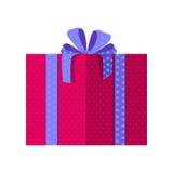 Κόκκινο κιβώτιο δώρων με την μπλε κορδέλλα Στοκ φωτογραφία με δικαίωμα ελεύθερης χρήσης