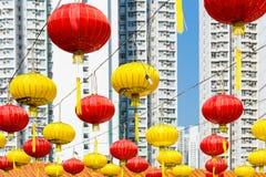 Κόκκινο κινεζικό φανάρι στον κινεζικό ναό Στοκ Φωτογραφίες