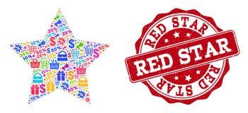 Κόκκινο κολάζ αστεριών του μωσαϊκού και του γρατσουνισμένου γραμματοσήμου για τις πωλήσεις διανυσματική απεικόνιση