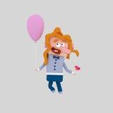 Κόκκινο κορίτσι τρίχας που κρατά ένα ρόδινο μπαλόνι Στοκ Φωτογραφίες