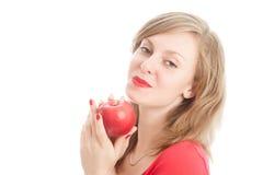 κόκκινο κοριτσιών μήλων Στοκ εικόνες με δικαίωμα ελεύθερης χρήσης