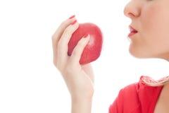 κόκκινο κοριτσιών μήλων Στοκ εικόνα με δικαίωμα ελεύθερης χρήσης