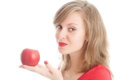 κόκκινο κοριτσιών μήλων Στοκ Εικόνες