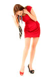 κόκκινο κοριτσιών φορεμά&tau Στοκ Φωτογραφία