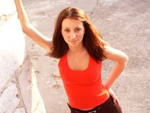 κόκκινο κοριτσιών Στοκ φωτογραφία με δικαίωμα ελεύθερης χρήσης