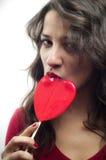 κόκκινο κοριτσιών lollipop Στοκ εικόνες με δικαίωμα ελεύθερης χρήσης