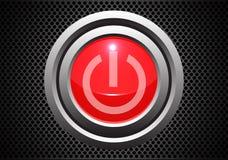 Κόκκινο κουμπί έναρξης δύναμης στο γκρίζο διάνυσμα τεχνολογίας σχεδιασμού σχεδίων πλέγματος κύκλων μετάλλων απεικόνιση αποθεμάτων