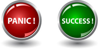 Κόκκινο κουμπί πανικού και πράσινο κουμπί επιτυχίας Στοκ φωτογραφίες με δικαίωμα ελεύθερης χρήσης