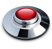 Κόκκινο κουμπί χρωμίου διανυσματική απεικόνιση