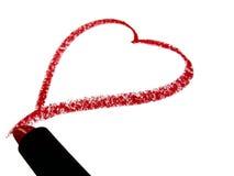 κόκκινο κραγιόν καρδιών Στοκ Εικόνες