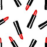 Κόκκινο κραγιόν σχεδίων στη μαύρη συσκευασία ελεύθερη απεικόνιση δικαιώματος