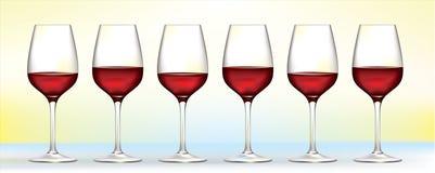 κόκκινο κρασί έξι γυαλιών Στοκ φωτογραφία με δικαίωμα ελεύθερης χρήσης