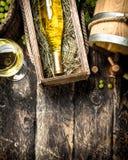 κόκκινο κρασί γυαλιού ανασκόπησης Άσπρο κρασί με έναν κάδο των πράσινων σταφυλιών Στοκ εικόνα με δικαίωμα ελεύθερης χρήσης