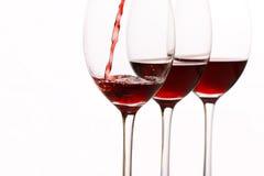 κόκκινο κρασί γυαλιών Στοκ Εικόνες