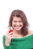 κόκκινο κρασί γυαλιού κοριτσιών στοκ φωτογραφία