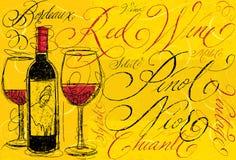 Κόκκινο κρασί με την καλλιγραφία Στοκ Φωτογραφίες