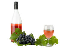 Κόκκινο κρασί με τις κόκκινα ακίδες και τα σταφύλια Στοκ Φωτογραφία