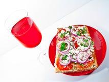 κόκκινο κρασί πιτσών glas focassia Στοκ Εικόνες