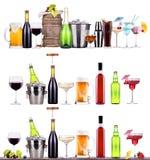 Κόκκινο κρασί, σαμπάνια, μπύρα, κοκτέιλ οινοπνεύματος Στοκ Φωτογραφία