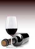 Κόκκινο κρασί σε ένα γυαλί και ένα μπουκάλι απεικόνιση αποθεμάτων