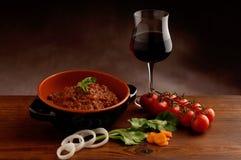 κόκκινο κρασί ragu κύπελλων Στοκ Εικόνες