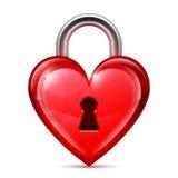 Κόκκινο κλείδωμα καρδιών Στοκ Εικόνα