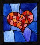 Κόκκινο λεκιασμένο καρδιά γυαλί απεικόνιση αποθεμάτων