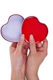 κόκκινο λευκό δύο καρδιώ&n Στοκ Εικόνες