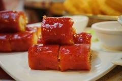 Κόκκινο λουκάνικο ρυζιού στο σπίτι τσαγιού στοκ φωτογραφίες με δικαίωμα ελεύθερης χρήσης