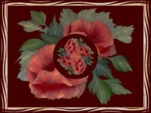 κόκκινο λουλουδιών Floral εικόνα διακοσμήσεων Στοκ Εικόνες