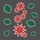 Κόκκινο λουλούδι εγγράφου και πράσινα φύλλα Στοκ Εικόνες