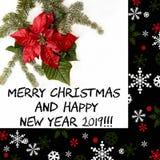 Κόκκινο λουλούδι Poinsettia με το δέντρο έλατου και χιόνι στο άσπρο υπόβαθρο Κάρτα Χριστουγέννων χαιρετισμών κάρτα christmastime  στοκ εικόνα με δικαίωμα ελεύθερης χρήσης