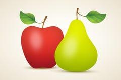 Κόκκινο μήλο και πράσινο αχλάδι Στοκ εικόνα με δικαίωμα ελεύθερης χρήσης
